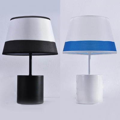 Black/Blue Tapered Shade Table Lamp Nordic Style Fabric 1-Head Night Light for Bedroom