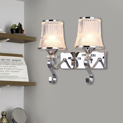 Contemporary Chrome/Gold Wall Light Tapered Shade 2 Lights Metal Sconce Light with Crystal Ball for Restaurant