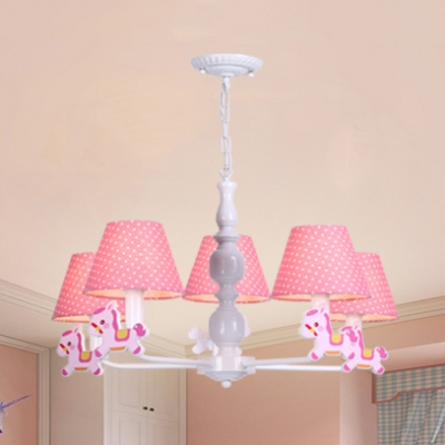 Fabric Dot Shade Hanging Light With