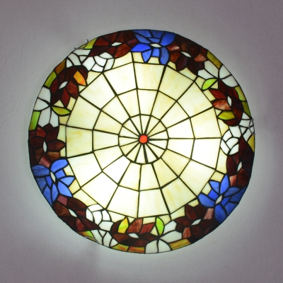 Floral Theme Flush Mount Light Tiffany Rustic Stained Glass Ceiling Lamp for Child Bedroom