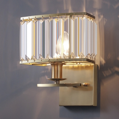 Gold Candle Sconce Light Single Light Contemporary Metal Wall Lamp with Crystal for Bedroom Kitchen