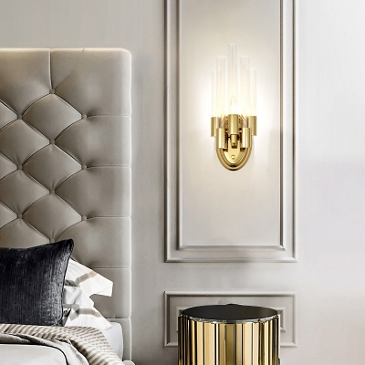 Gold Candle Sconce Light with Glass Shade Contemporary Metal Wall Lamp for Bedroom Bedside Table