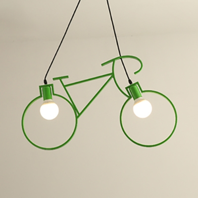 2 Bulb Bicycle Pendant Light Antique Stylish Iron Hanging Light for Kid Bedroom Study Room