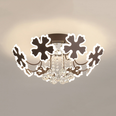 Living Room Petal Semi Flush Ceiling Light with Crystal Ball Metal 6/8 Heads Modern Coffee/Gold Ceiling Fixture