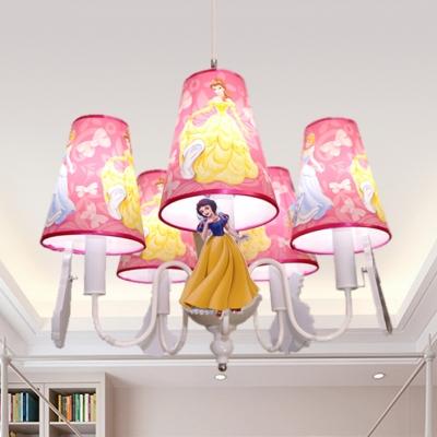 Lovely Blue Pink Ceiling Pendant Princess Five Lights Metal Chandelier