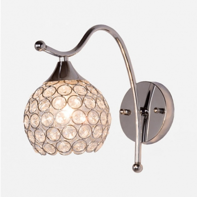 Modern Style Sphere Sconce Light 1 Light Clear Crystal Wall Lamp in Chrome for Study Room