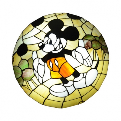Multi-Color Cartoon Mouse Ceiling Light Cartoon Stained Glass Flush Light for Living Room