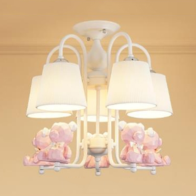 Nordic Blue Pink Chandelier Toy Bear 5 Lights Metal Hanging Light With