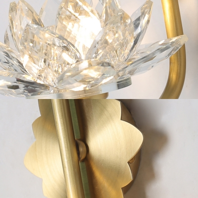 One Light Lotus Sconce Light Beautiful Striking Glass Wall Lamp in Gold for Restaurant Hotel
