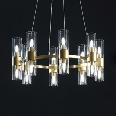 Restaurant Cafe Tube Chandelier Clear Glass 6/16 Lights Simple Style Pendant Lamp in Gold
