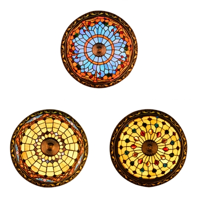 Stained Glass Bowl Shade Ceiling Fixture 4 Lights Vintage Tiffany Ceiling Mount Light for Hotel