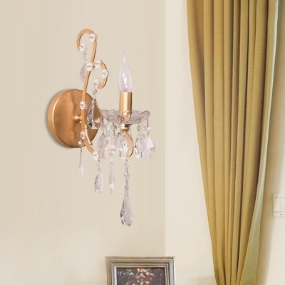 Traditional Candle Sconce Light with Clear Crystal Single Light Metal Wall Lamp in Gold/Silver for Bathroom