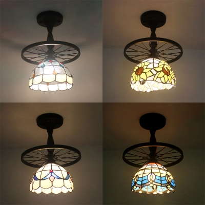 Wheel & Dome Semi Flush Mount Light 1 Bulb Traditional Beige/Blue/Clear/Yellow Glass Ceiling Fixture for Kitchen