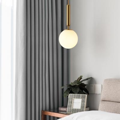 White Glass Ball Mini Hanging Lamp Post Modern 1 Light Pendant Lighting in Black/Gold