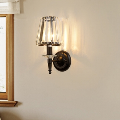 1 Head Tapered Shade Wall Light Traditional Metal Clear Crystal Sconce Light in Black for Restaurant