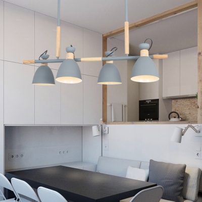 Rotatable Metal Domed Island Light 4 Bulbs Nordic Style Island Pendant in Gray/Green/White for Kitchen