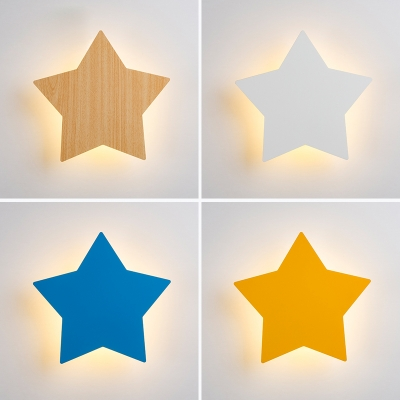Kids Star LED Wall Light Wood Sconce Lamp in Blue/Beige/White/Yellow for Girls Bedroom Game Room