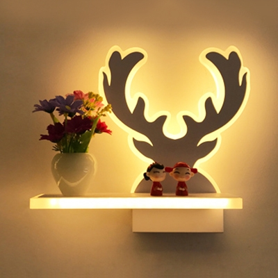 Acrylic LED Wall Light with Shelf Living Room Bedroom Modern Style Sconce Light in White Finish