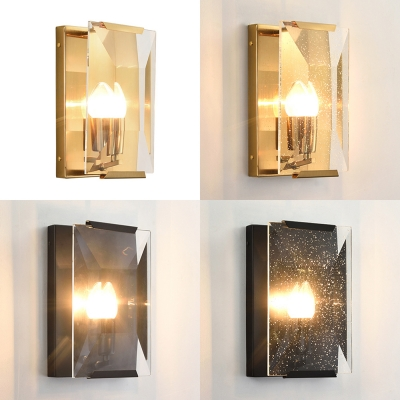 Bedroom Candle Shape Sconce Light Metal One Light Traditional Style Wall Lamp with Crystal Panel