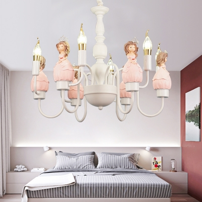 Candle Girls Bedroom Chandelier With Princess 6 Lights Modern Lovely Pendant Light In White Beautifulhalo Com