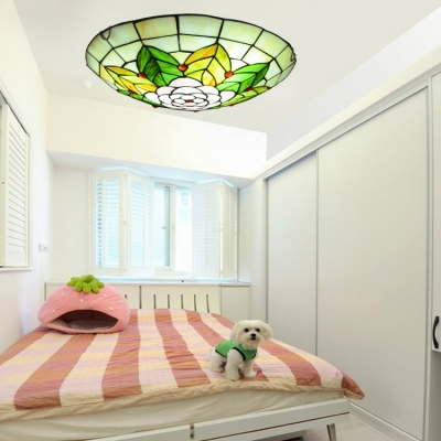 Child Bedroom Flower Leaf Ceiling Light Stained Glass Rustic Tiffany Flush Mount Light
