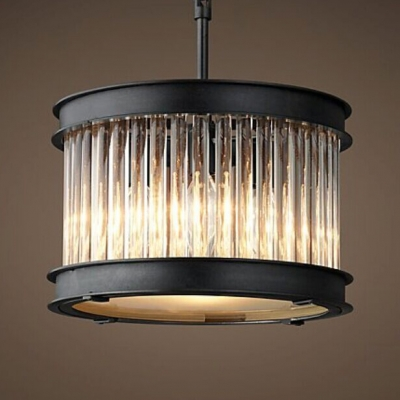 Drum Shaped Chandelier Light with Clear Crystal Antique Metal Ceiling Pendant in Black for Cafe