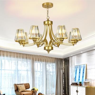 Elegant Style Tapered Shade Chandelier Metal 8/10 Lights Gold Hanging Lamp for Living Room