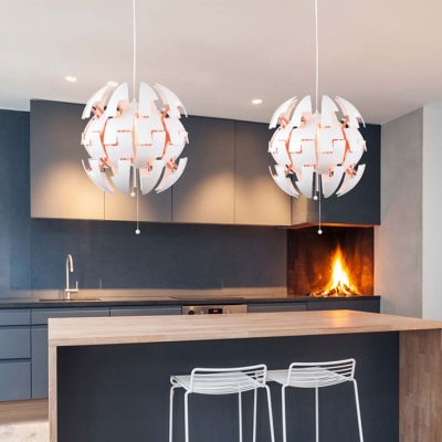 Green/Orange/White Spherical Hanging Light Modern 1 Light Metal Exploding Pendant Lamp for Restaurant Dining Room