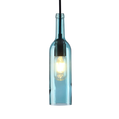 Blue/Purple/Red/Yellow Pendant Light Bottle Shape 1 Light Antique Style Glass Hanging Light for Bar