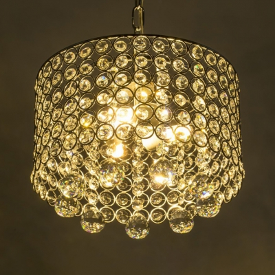 Luxurious Drum Ceiling Light Wrought Iron 3 Lights Chrome Chandelier with Striking Crystal for Hotel