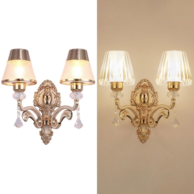 Luxurious Prismatic/Ribbed Sconce with Crystal Bead 2 Lights Metal Wall Lamp in Gold for Office