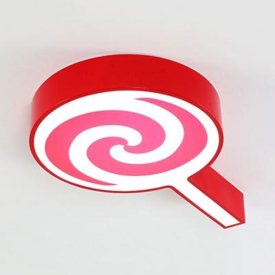 Metal Lollipop LED Flush Mount Light Cartoon Stepless Dimming/Third Gear/White Lighting Ceiling Light in Blue/Pink/Yellow