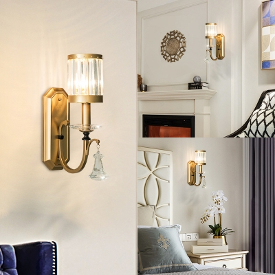 Modern Stylish Cylinder Wall Light with Clear Crystal Single Head Metal Sconce Light in Gold for Bedroom