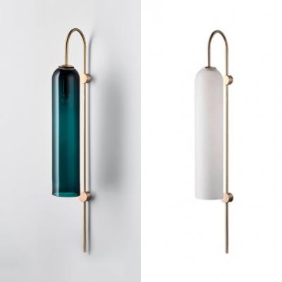 Post Modern Cylinder Tube Sconce Light Blue/White Glass 1 Head Wall Mount Lamp for Restaurant Hallway
