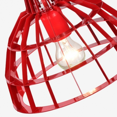 Red Dome Shade Pendant Light Modern Style Metal Cage Hanging Lamp over Dining Table