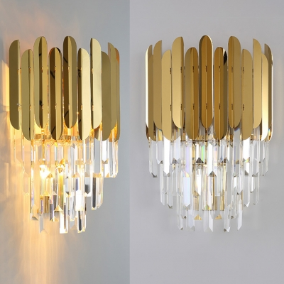 Stainless Steel Wall Light with Clear Crystal 2 Lights Luxurious Gold Finish Wall Sconce