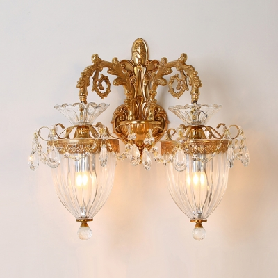 Stair Cafe Engraved Arm Wall Light Ribbed Glass 1/2 Lights Elegant Style Gold Sconce Light with Crystal