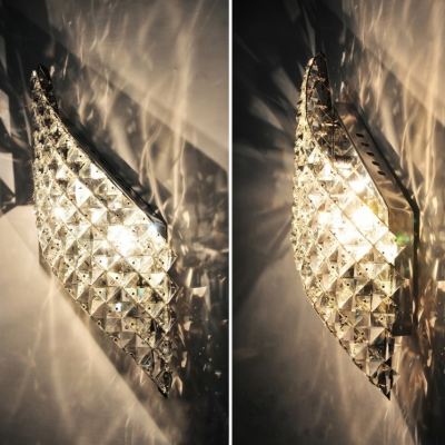 Striking Crystal Curved Diamond Wall Light Modern Style Sconce Light for Bathroom Stair