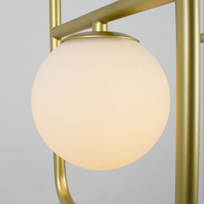 White Globe Pendant Light 2/3/4 Heads Modern Stylish Metal & Milk Glass Chandelier for Dining Table