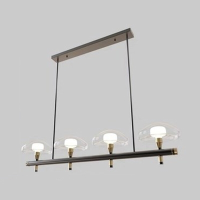 Study Room Urn Island Light Clear Glass 4/6 Lights Contemporary Black Finish Island Pendant