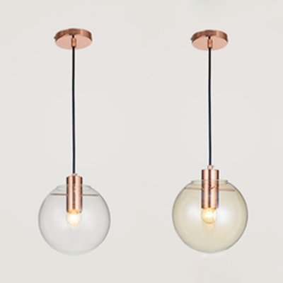 Amber/Clear Glass Spherical Mini Pendant Post Modern 1 Light Hanging Lamp in Copper Finish