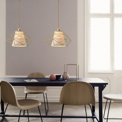 Black/Gold Diamond Metal Cage Hanging Light Post Modern Fabric Shade Drop Light over Dining Table