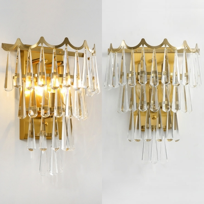Clear Crystal Teardrop Wall Light Contemporary LED Sconce Light in Gold for Living Room