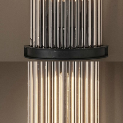 Clear Crystal Tube Wall Light Restaurant Kitchen Modern Stylish Wall Sconce in Black Finish
