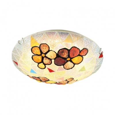 Colorful Flower Ceiling Mount Light Tiffany Simple Glass Shell Flush Light for Kitchen Bedroom