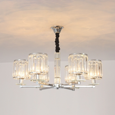 Drum Living Room Chandelier Clear Crystal 3/6 Heads Modern Simple Style Hanging Light in Chrome