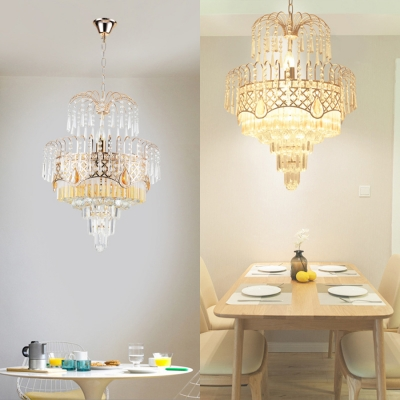 Fireworks Shaped Ceiling Pendant Royal Style Metal & Glamorous Crystal Chandelier in Gold for Restaurant