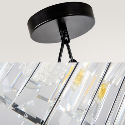 Iron Cage Pendant Lamp with Clear Crystal Study Room One Light Industrial Chandelier in Black