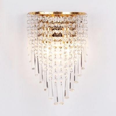 Luxurious Clear Crystal Wall Light Two Lights Gold Sconce Lamp for Bedroom Dining Room