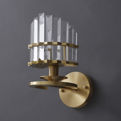 Metal Candle Sconce Light with Clear Crystal Single Light Modern Stylish Wall Lamp in Gold